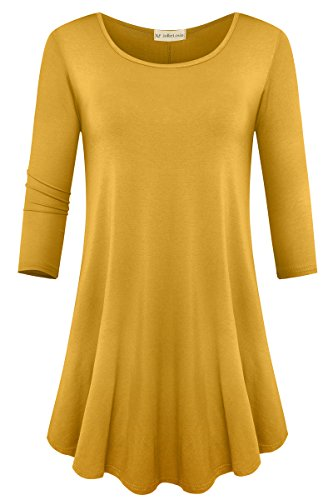 JollieLovin Womens 3/4 Sleeve Loose Fit Swing Tunic Tops Basic T Shirt (Yellow, M)