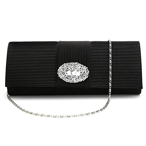 Bag Designer Black Clutch Evening Women Bridal Prom Crystal Evening Handbag for Satin Pleated Purse rZpOZ1I
