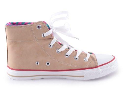 Mixmatch24 8138 - Zapatos de cordones para mujer beige - caqui