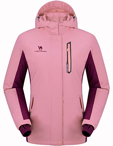 CAMEL CROWN Women's Mountain Snow Waterproof Ski Jacket Detachable Hood Windproof Fleece Parka Rain Jackt Winter Coat Pink L