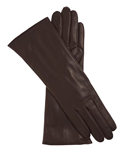 Fratelli Orsini Women's Italian ''4 Button Length'' Cashmere Lined Leather Gloves Size 8 Color Dark Brown by Fratelli Orsini