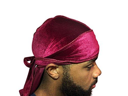 Velvet Premium Durag 360, 540, 720 Waves Extra Long Straps for Men Du-RAG (Maroon/Burgandy)