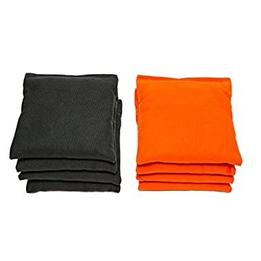 Weather Resistant Cornhole Bags (Set of 8) by SC Cornhole (Black/Orange)