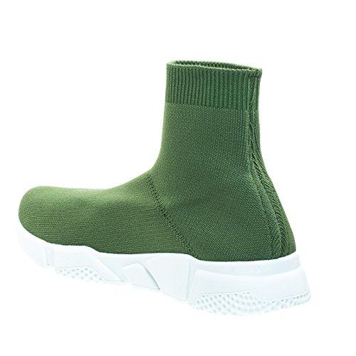 Hoge Top Geribbelde Gehaakte Stretch Gebreide Sok Sneaker Met Witte Tussenzool Olijfgroen
