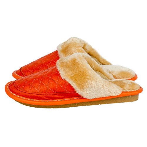 Haisum Womens Winter Cow Leather Soft Slippers Cozy Warm Lining Bedroom Mule House Slippers Orange QcJgwKP7