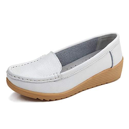Enceintes Casual Slip Solid Mère Coins Blanc Mocassins En Lady Chaussures Confortables Flats Non Femmes Bas Cuir 4qaRR