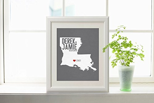 Custom Louisiana or ANY State Map Print with Couple's names wedding date and location (Party City Locations California)