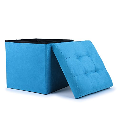 WoneNice Premium Stylish Suede Ottoman Storage Box / Blanket Box / Toy Box / Spare Seat / Stool (Blue)