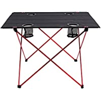 OUTRY Lightweight Folding Table with Cup Holders,...