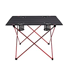 Outry Lightweight Folding Table with Cup Holders, Portable Camp Table (L – Unfolded: 29.5″ x 22″ x 21″)