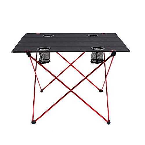 OUTRY Lightweight Folding Table with Cup Holders, Portable Camp Table (L - Unfolded: 29.5' x 22' x 21') , Outdoor Picnic Camping Backpacking Beach Patio Collapsible Foldable Light Weight Table