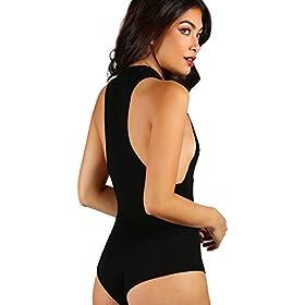- 41w6N6GuLWL - Verdusa Women's Sexy Sleeveless Mock Neck Thong Clubwear Bodysuit