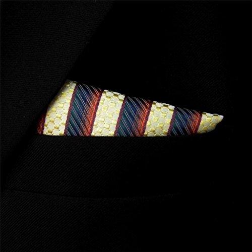 Shlax&Wing Stripes Yellow Blue Pocket Square Mens Hankies Hanky
