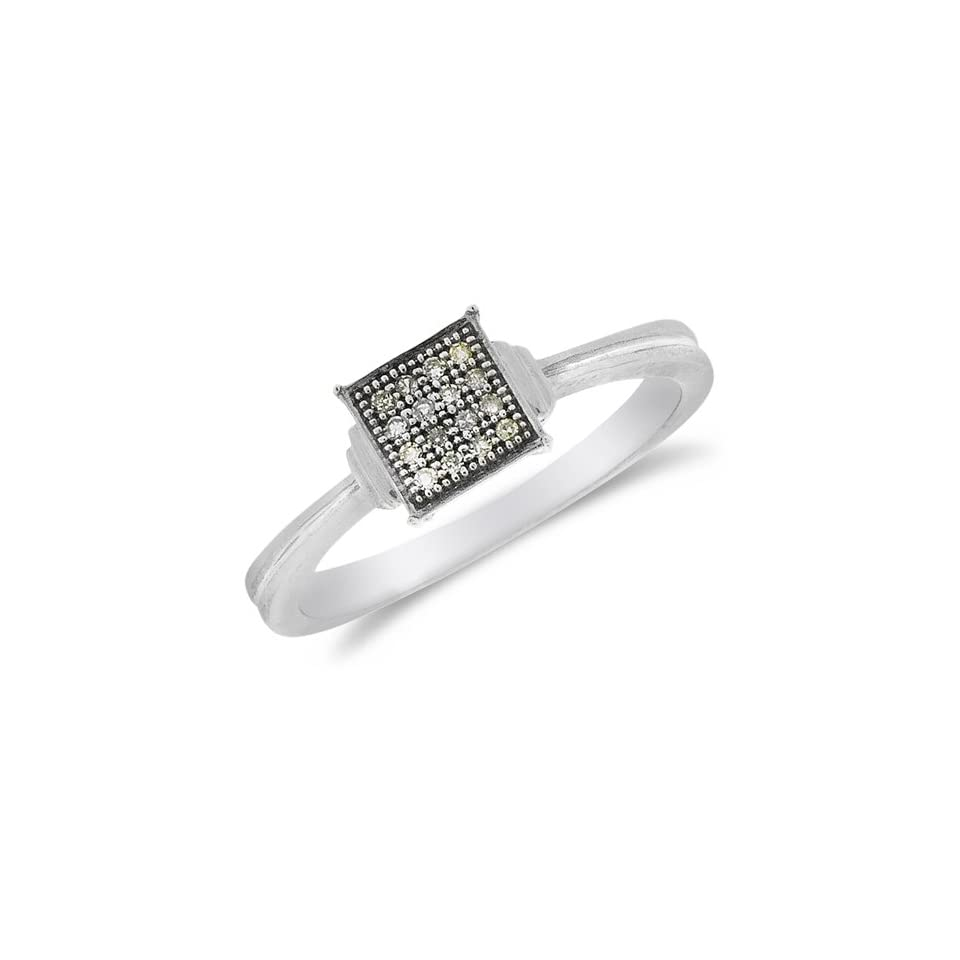 Size 10.5   .925 Sterling Silver Plated in White Gold Rhodium Yellow and White Two Tone Gold Diamond Classic Traditional Engagement Ring   Square Princess Shape Center Setting w/ Micro Pave Set Round Diamonds   (1/20 cttw)