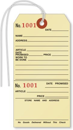 REPAIR - Manila Tags with, Manila 10pt Cardstock Tag with Stub, 1000 (Repair Tags)