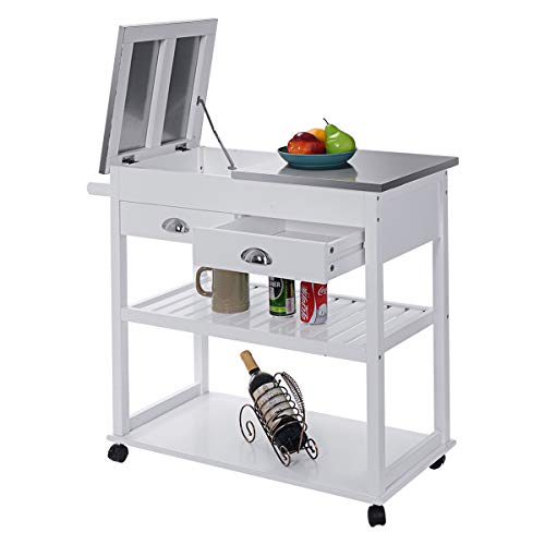 CHEFJOY Rolling Kitchen Trolley Cart w/ 2 Drawers 2-Tier Shelves Stainless Steel Flip Top Wood Multifunctional Utility Storage Island Cart w/Handle & Casters (White) ()