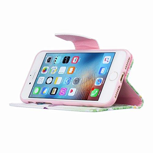 Custodia Apple iPhone 7 Cover Case, Ougger Portafoglio PU Pelle Magnetico Stand Morbido Silicone Flip Bumper Protettivo Gomma Shell Borsa Custodie con Slot per Schede, Design 7