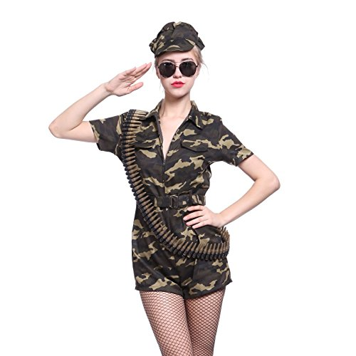 Sexy Camo Army Girl Soldier Fancy Dress Military Costume Commando Suit Uniform ()