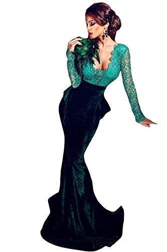 finest selection edf21 318c2 Verde smeraldo in velluto e paillettes pizzo Abito da sera ...