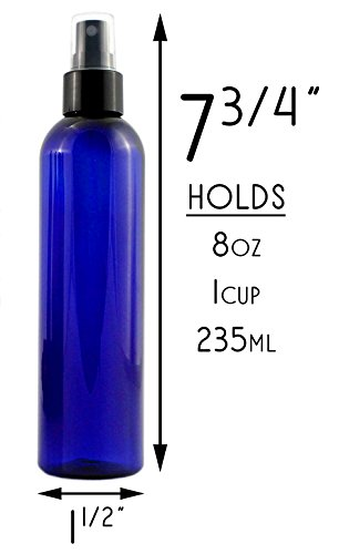 8oz Cobalt Blue Plastic PET Spray Bottles w/Fine Mist Atomizers (6-pack); for DIY Home Cleaning, Aromatherapy, Beauty Care by Cornucopia Brands (Image #4)