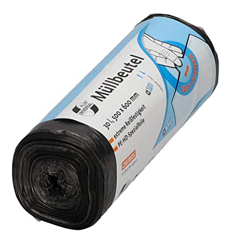 Müllbeutel aus HDPE 30 l, grau, 50 Stück/Rolle