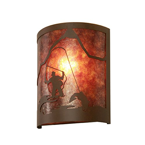 Steel Partners Lighting 2378-36-B FLY FISHERMAN Timber Ridge Sconce with Amber Mica Lens, Black Finish ()
