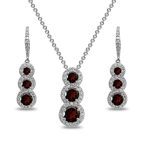 Sterling Silver Garnet Journey Halo 3-Stone Pendant Necklace & Leverback Earrings Set for Women