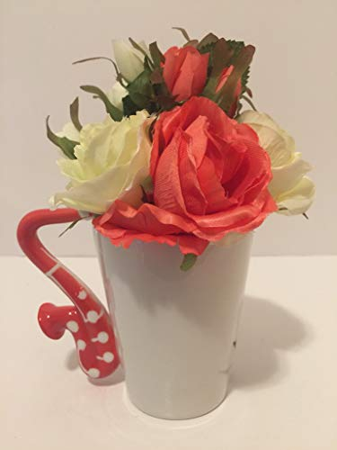 MUSIC FUN - SALMON COLORED (RED) SAXOPHONE VASE - SALMON & WHITE ROSES - MUSIC INSTRUMENT - MUSICIAN - BAND CLASS - SCHOOL BAND - MUSIC CLASS - ORCHESTRA - MUSIC TEACHER
