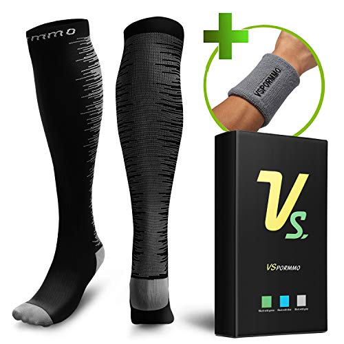 Socks Women and Men 20-30 mmHg with Free Headband/Wristband, Blood Circulation Socks for Pregnancy, Varicose Veins, Diabetic, Edema, Nurse, Recovery Running, Athletic, Flight ()