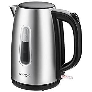 Electric Kettle Stainless Steel Cordless Tea Kettle with British Strix Control, 1.7-Liter Water Kettle 1500W Fast Boiling, Hot Water Kettle Electric with Auto Shut-Off, BPA-Free By Aicok