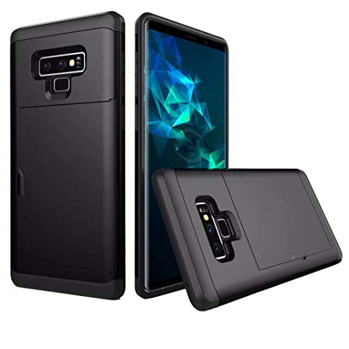 Price comparison product image Fiaya Compatible for Samsung Galaxy Note 9,  6.4 Inch Card Wallet Slot Hybrid Hard Slim Phone Case Cover for Samsung Galaxy Note 9 (Black)