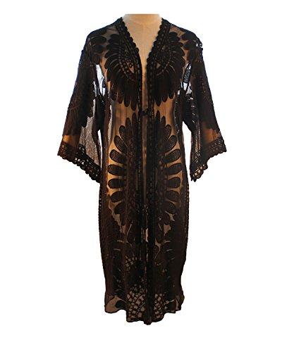 Aboutwome Women Beach Cover Up Swimsuit Floral Cardigan Beachwear Oversized Bathing Suit Swimwear (US L/XL, Black)