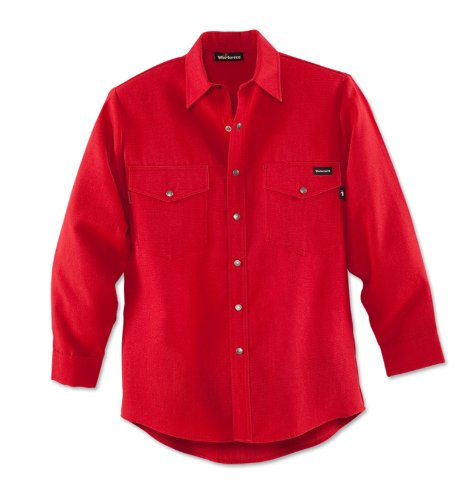 Workrite 220NX45RD42-0L Flame Resistant 4.5 oz Nomex IIIA Long Sleeve Western-Style Shirt, Snap Cuff, 42 Chest Size, Long Length, Red by Workrite