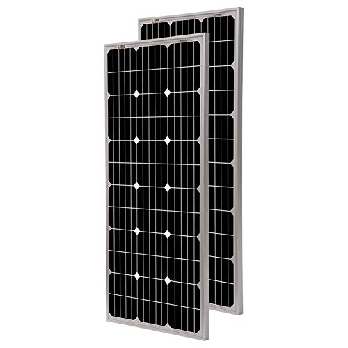 Richsolar 2pcs 100 Watt 12 Volt Monocrystalline Solar Panel with MC4 Connectors 12 Volt Battery Charging RV, Boat, Off Grid 2pcs