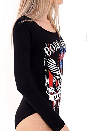 Friendz Trendz -Women Born Wild Live Free Eagle Print Bodysuit Leotard 8-14 (ML, Black) (Born Wild Eagle)