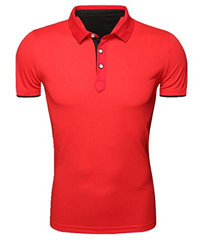 OULIU Mens Summer Short-Sleeve Solid Performance Polo Shirt Red S