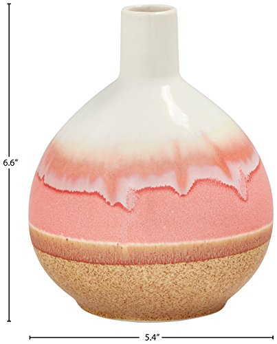 Amazon Brand – Stone & Beam Modern Round Ceramic Home Decor Flower Vase - 7 Inch, Coral White Tan