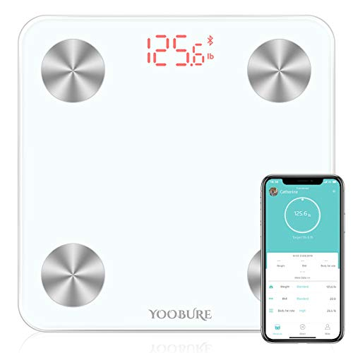 Bluetooth Body Fat Scale, Smart Digital Bathroom Weight Scale with Tempered Glass Platform, Body Composition Analyzer Wireless BMI Scale Health Monitor 400lb