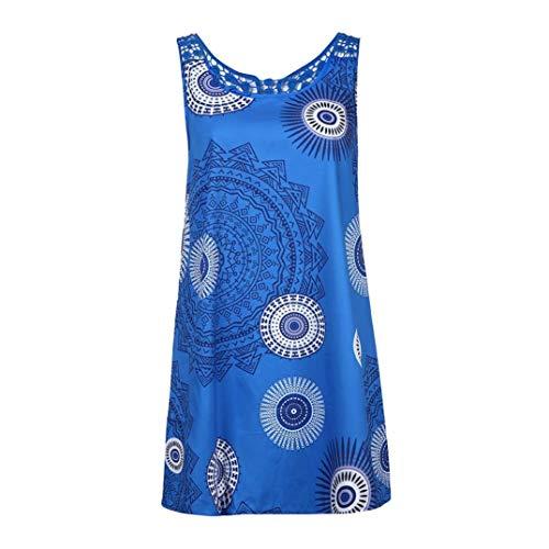 Toimoth Plus Size Women Long Sleeve Top Round Collar Regular Ladies Blouse Print Shirts(Blue,4XL)