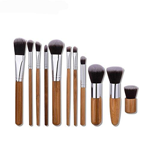 11pcs/set Bamboo make up brush tool kit - 5