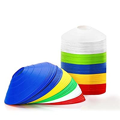 """Kevenz 2"""" Multicolor Soccer Field Cone Markers, Set of 12/25/50/100, with a carry strap (1st generation?2st generation?3st generation?"""
