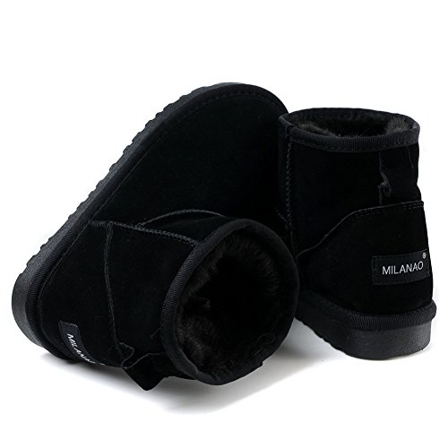 Milanao Women Winter Frosted Warm Leather Short Boots Black DnKrsNIPG
