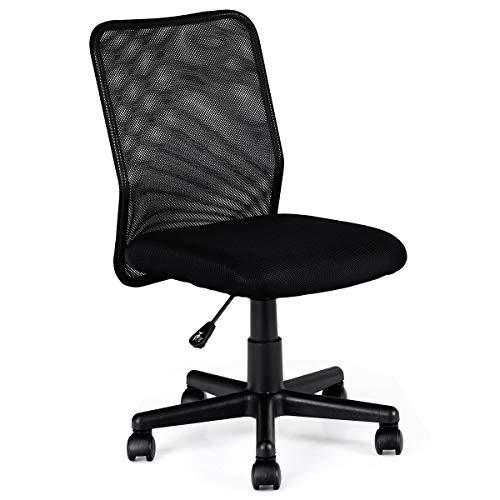 Safeplus Adjustable Ergonomic Mesh Office Chair, Mid-Back Swivel Lumbar Support Desk Chair in Home-Office, 1, Black