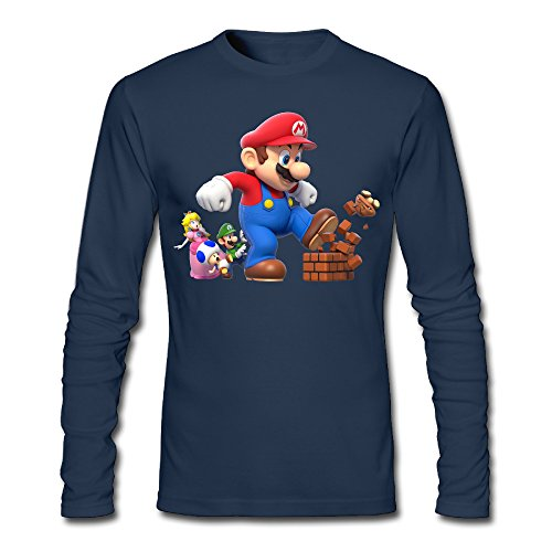 [LCNANA Super Mario Bro Men's Custom Blank Long Sleeve Shirt Navy L] (Custom Costumes Makers Los Angeles)