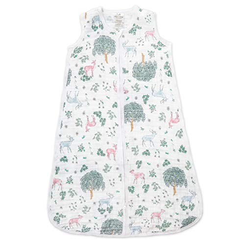 aden + anais Classic Sleeping Bag, 100% Cotton Muslin, Wearable Baby Blanket, Extra Large, 18+ Months, Forest Fantasy - Deer