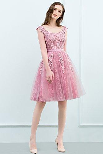 74e768342461 ... MisShow Damen Elegant Tüll Ballkleid Brautjungfernkleid Abendkleid  Applique Knielang 32-46 Silber SsLKBakFyP ...