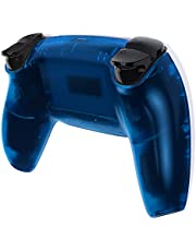 eXtremeRate Clear Blue Grip Bottom Shell for PS5 Controller, Custom Back Housing for PS5 Controller, Replacement Back Shell Cover for Playstation 5 Controller