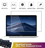 2 Pack Matte Anti-Glare Screen Protector for MacBook Pro Touch Bar 13 Inch 2020-2016 Model A2159 A1706 A1708 A1989 with Surprise Keyboard Skin, Help for Your Eyes Reduce Fatigue
