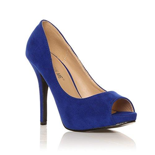 TIA - Chaussures à talons aiguilles - Plateforme - Bout ouvert - Bleu électrique - Effet daim yHbamj