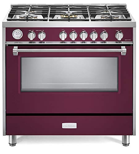 Verona Designer Series VDFSGG365BU 36 inch All Gas 5.0 Cu.Ft Range Oven 5 Sealed Brass Burners Cooktop Convection Burgundy 36in Electronic Ignition Gas Range